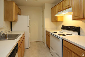 Kitchen with pantry, fridge, sink, electric stove top oven with range hood's light on