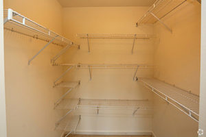 Walk in closet with shelving