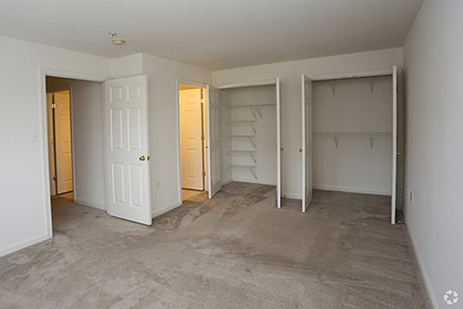 Carpeted bedroom with two closets opened up to show shelving