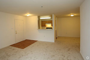 Carpeted living area with cutout in wall viewing the kitchen. Wood floor section for door entryway