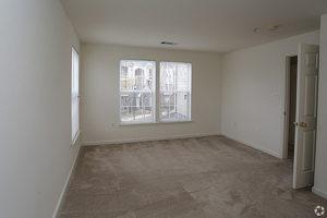 Carpeted bedroom with three windows, door leading to hallway