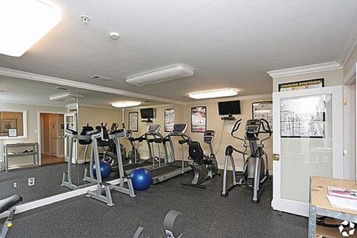 Gym with several workout machines, a mirrored wall, TV mounted on back wall