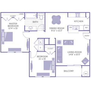 """Master bedroom 12'4"""" x 15' with closet and bathroom. Bedroom 11' x 15' with closet. Dining room 9'11"""" x 11'2"""". Living room 14'8"""" x 15'3"""". Kitchen. Balcony. Washer and dryer in unit."""